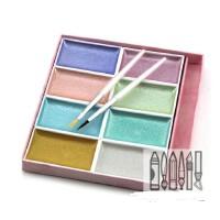 日本进口吉祥颜彩珍珠色8色套装 固体水彩颜料珠光色绘画国画颜料