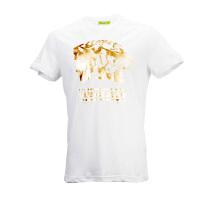 VERSACE JEANS白色纯棉烫金个性图案男士短袖T恤