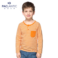 派克兰帝品牌童装 男童春装秋装亨利领彩条长袖T恤  儿童T恤