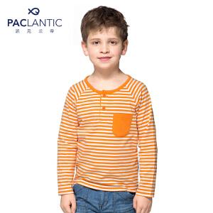 派克兰帝品牌童装 男童秋装秋装亨利领彩条长袖T恤  儿童T恤