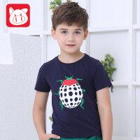 小猪班纳童装男童t恤短袖中大童儿童半袖男童夏季新款卡通体T恤男