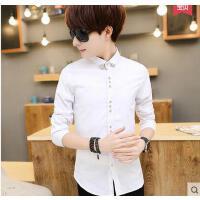韩版男士长袖衬衫修身打底衫青少年休闲纯白色衬衣潮流帅气男装