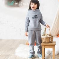 茵曼童装秋冬新款中大童女童运动卫衣加绒套装两件套【3864250205】