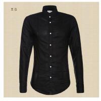 新款薄衬衫S285小立领休闲亚麻衬衣棉麻长袖衬衣男装