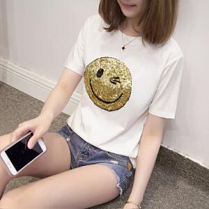 夏季笑脸图案t恤短袖女体恤宽松韩版学生上衣潮大码女装JM028-7137