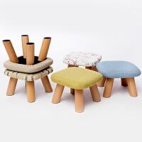 家逸 换鞋凳 圆凳 实木矮凳 布艺沙发凳 板凳儿童餐椅 小凳子