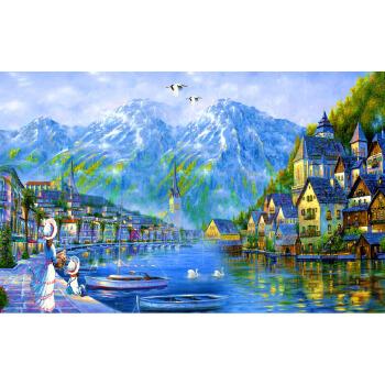 1000片木质拼图500手绘油画湖边小镇装饰画 湖光山色