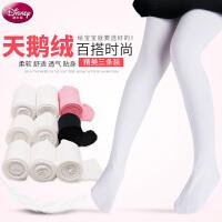 迪士尼女童连裤袜春秋儿童打底裤薄款夏宝宝白色丝袜长筒袜舞蹈袜