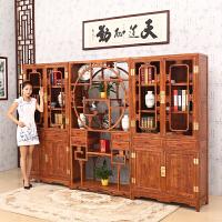 包邮简迪红木家具仿古博古架实木中式隔断花梨木多宝阁储物柜书柜三件套带门书柜书架组合