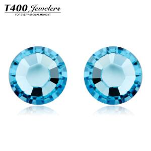 T400 销量王水晶耳钉 单钻耳钉 简约时尚百搭 海蓝色8000