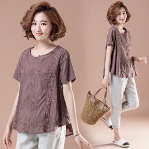 夏季新款韩版宽松字母贴布刺绣休闲百搭上衣短袖T恤大码女装JM028-7046