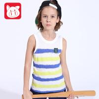 小猪班纳童装男童针织背心打底2017夏季儿童条纹背心纯棉中大童