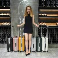 USO复古铝框拉杆箱万向轮英伦风欧美旅行箱8178-20寸登机行李箱赠送箱套+U枕+洗漱包