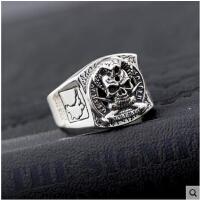 戒指男士个性韩版简约指环银饰品 泰银S925银欧美霸气骷髅头