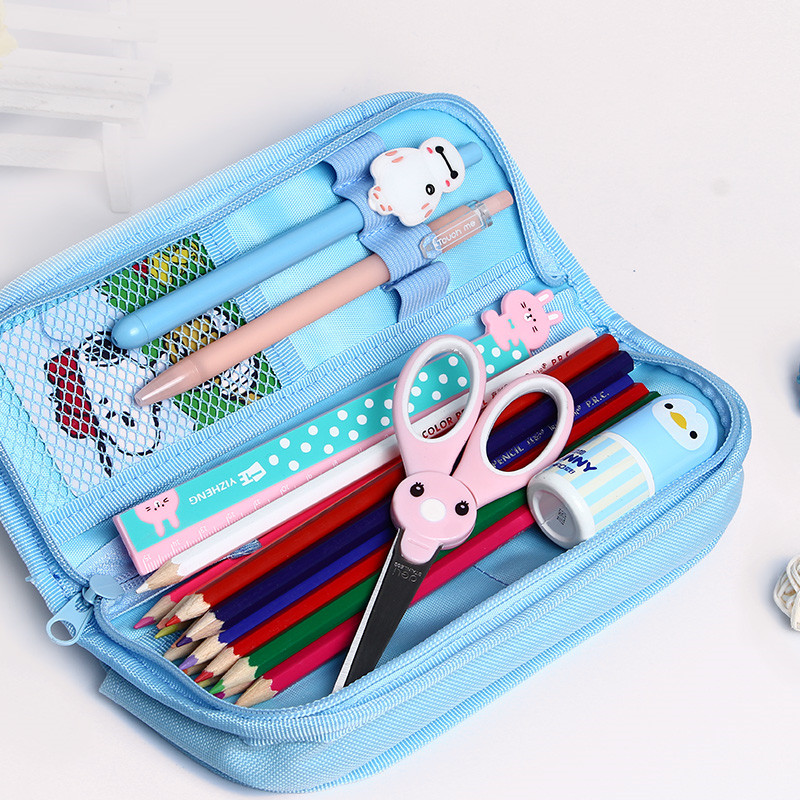 我的文具袋�9�#���_韩版简约可爱铅笔袋女孩学生多层密码锁铅笔盒大容量文具袋