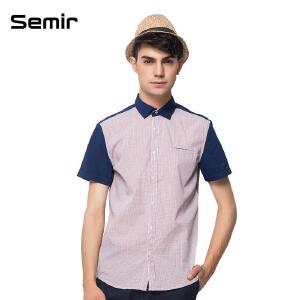 森马 男装夏装新款短袖衬衫 男士格子撞色拼接修身衬衣 韩版上衣男
