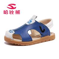 哈比熊男童包头凉鞋2017夏季新款儿童凉鞋男孩沙滩鞋中大童牛皮凉鞋潮