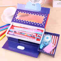 铅笔盒三层密码文具盒 韩国多功能可爱小学生笔袋密码锁男女