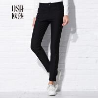 限时抢欧莎女装秋装新款 纯色显瘦九分休闲裤C52121