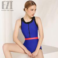 弈姿EZI温泉时尚修身专业运动遮肚显瘦性感连体学生女游泳衣1308