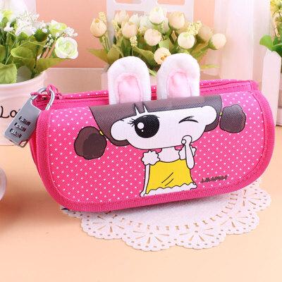 韩版简约可爱铅笔袋女孩学生多层密码锁铅笔盒大容量文具袋_1077兔