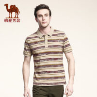 Camel骆驼 男装 新款男士短袖T恤 夏款日常休闲条纹修身t恤