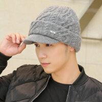 帽子男士加大户外双层保暖鸭舌帽护耳纯绒线帽 厚羊毛帽子