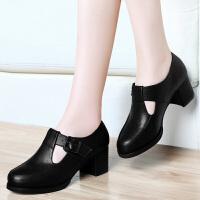 古奇天伦 春季新款女单鞋 时尚粗跟高跟鞋 潮流扣带女鞋子 8163
