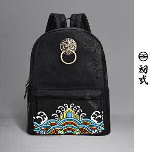 初�q中国风潮牌复古刺绣狮子头男女学生防水电脑双肩书背包41069