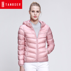 坦博尔轻薄短款羽绒服女2016新糖果色韩版连帽羽绒冬季外套TD3212