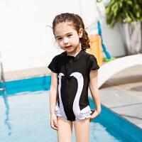 佑游 时尚儿童泳衣女童游泳衣泳裤 小孩子宝宝连体裙公主裙泳帽