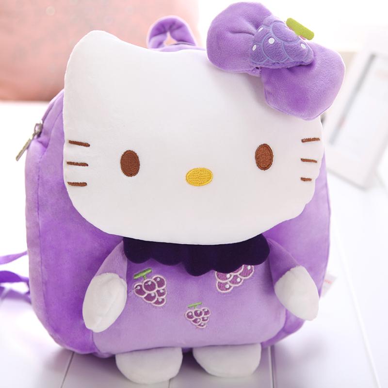 kitty儿童书包可爱韩版女童背包幼儿园双肩包宝宝包包_kt款-紫色葡萄