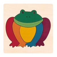 德国HapeE6503创意拼图-彩虹蛙儿童早教木质拼图玩具