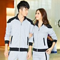 花花公子 男士运动套装韩版长袖开衫卫衣女款休闲情侣套装跑步运动服