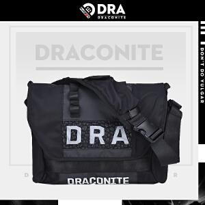 DRACONITE潮牌字母反光单肩斜挎包男士死飞碎石图形后背包12050A