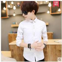 韩版修身青少年休闲纯白色衬衣潮流帅气百搭男装男士长袖衬衫