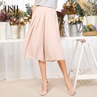欧莎夏装女2017夏季新款女装时尚百搭舒适女士阔腿裤S117B52036