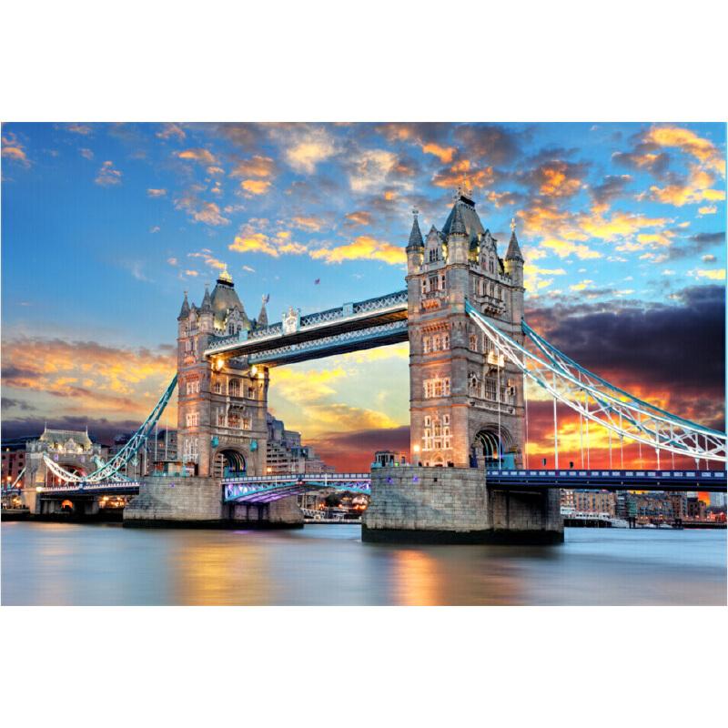 成人2000片木质拼图世界名画风景油画卡通动漫星空夏至_伦敦塔桥晚霞