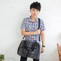 吉野2017新款韩版男包休闲大包包复古帆布包手提包潮流男士单肩斜挎包大包包旅行包