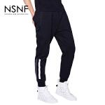 NSNF反光条慢跑裤黑色针织裤2017春夏新款
