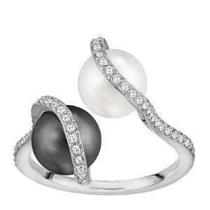 Swarovski/施华洛世奇 女士镀白金色镶水晶黑白珍珠戒指 5197801 支持礼品卡支付