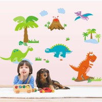 斯图牌 墙贴 客厅卧室背景大面积可移除墙贴 儿童房 卡通壁纸 墙纸 恐龙时代 ST8809
