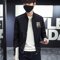 新款秋季男士修身夹克韩版青年休闲立领外套男装印花上衣