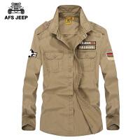 Afs Jeep战地吉普春季长袖衬衫男士青年衬衣牛津纺长袖衬衫2001