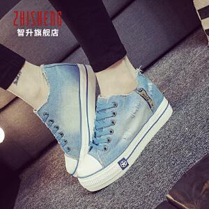 秋季帆布鞋女学生韩版内增高厚底鞋子女休闲鞋平跟板鞋牛仔布球鞋