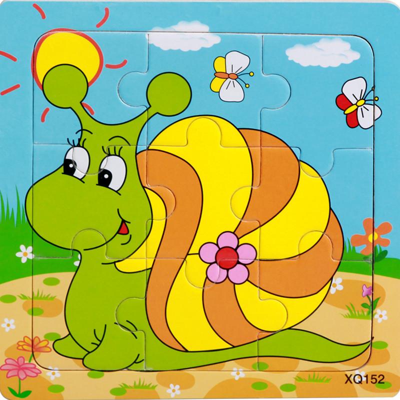 巧灵珑木制9片拼图30款儿童动物卡通益智早教启蒙积木质玩具2-4岁_9
