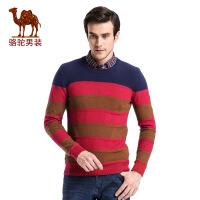 骆驼男装 秋季新款圆领拼色条纹日常休闲长袖纯棉毛衣男青年