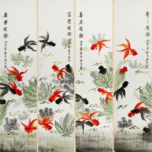 刘永红《年年有余》四条屏,山东青年美术协会会员,山东美术家协会会员