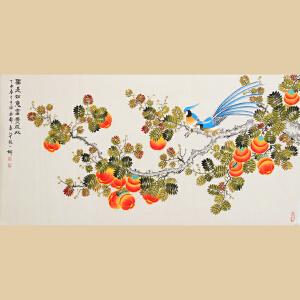 《柿事如意富贵成双》张一娜-中国女工笔画协会委员,书画家协会一级美术师