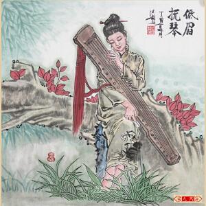 《低眉抚琴》葛红彪 中国职业书画家协会会员,陕西人民书画院画家【编号】W1357